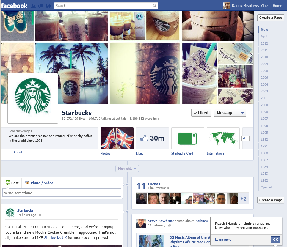 special contests on FB by starbucks