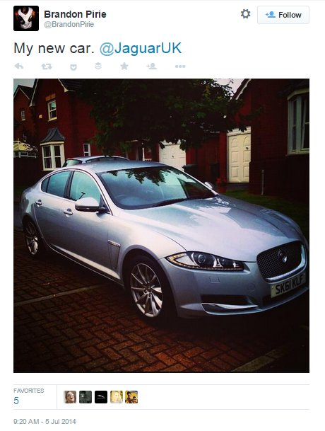 Satisfied customer shares newly purchased jaguar car on Twitter