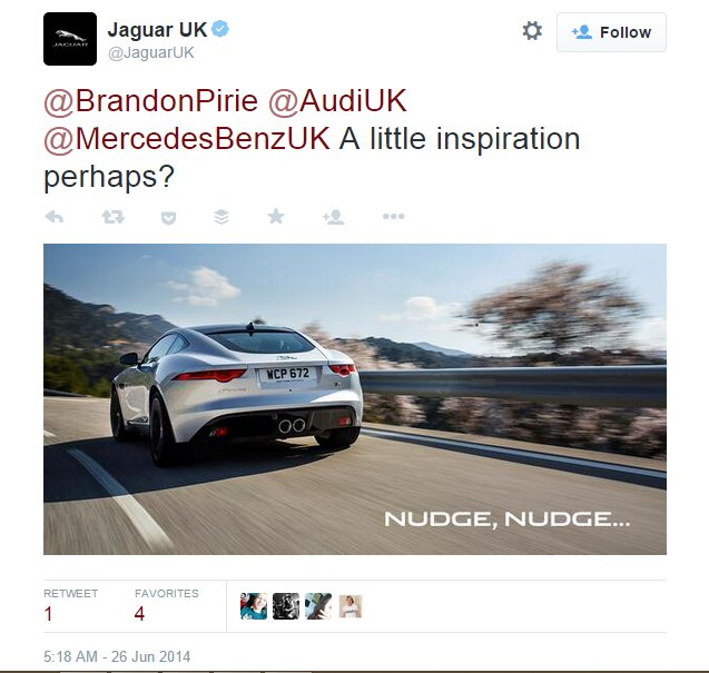 jaguar responded to the first tweet within 1 hour.