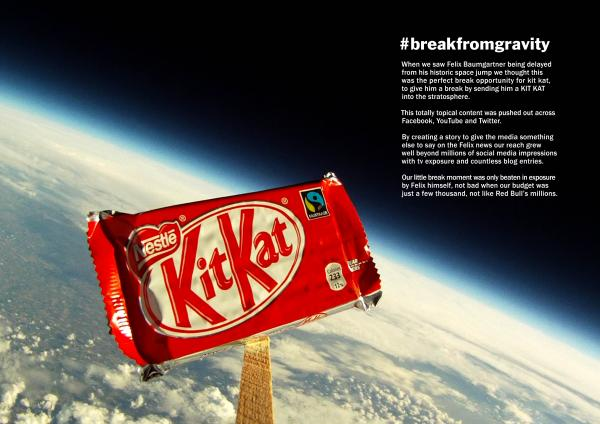 film shows a Kit Kat sent up to the edge of space